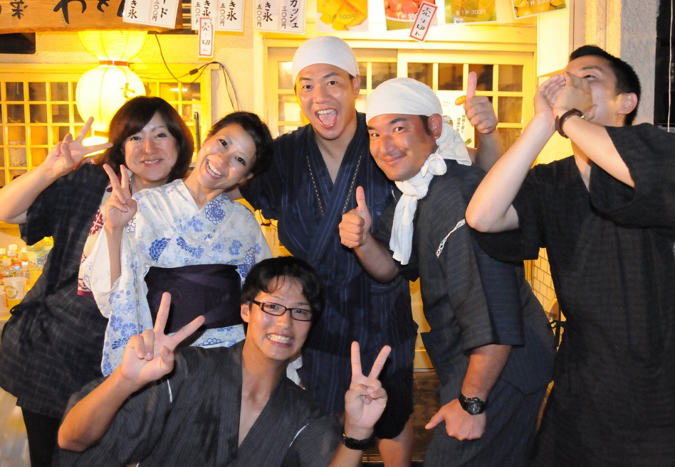 happy people at yoiyama evening