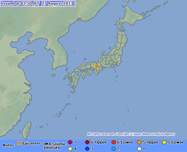 earthquake image from JMA