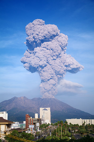 image of sakurajima erupting in 2009