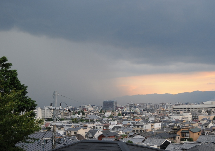 thunderstorm approaching over Kyoto