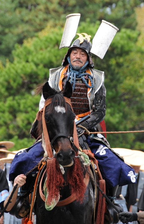 mounted samurai with interesting helmet