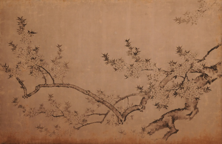 panel with cherryblossoms in the Shodaibunoma waiting room