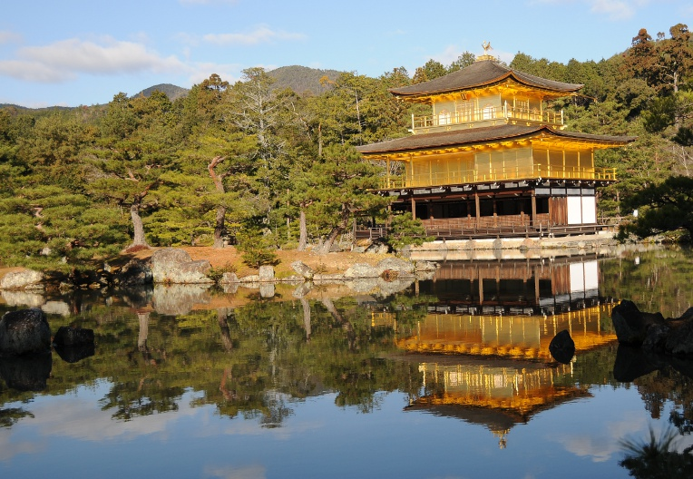 kinkakuji mirrored in the pond
