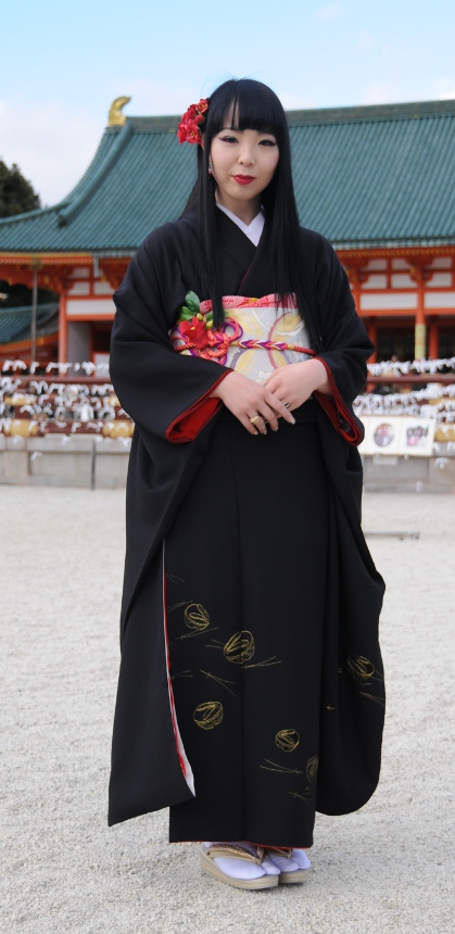 beauty in black kimono