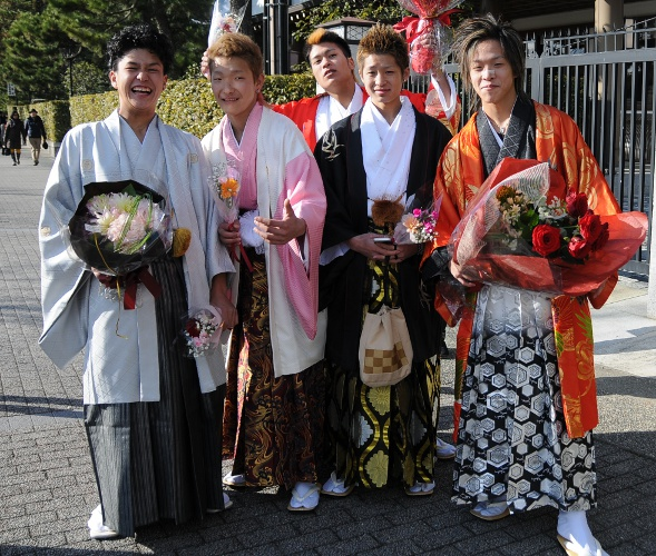 five boys in elaborate kimono and colorful hakama