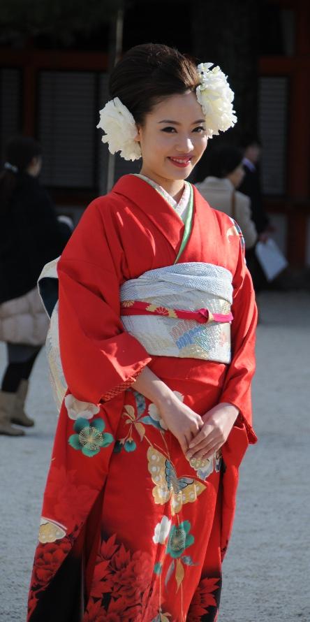 beauty in red kimono