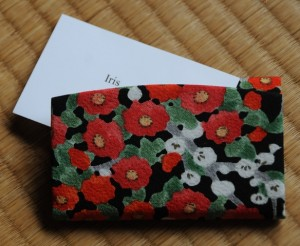 business cards and silk holder