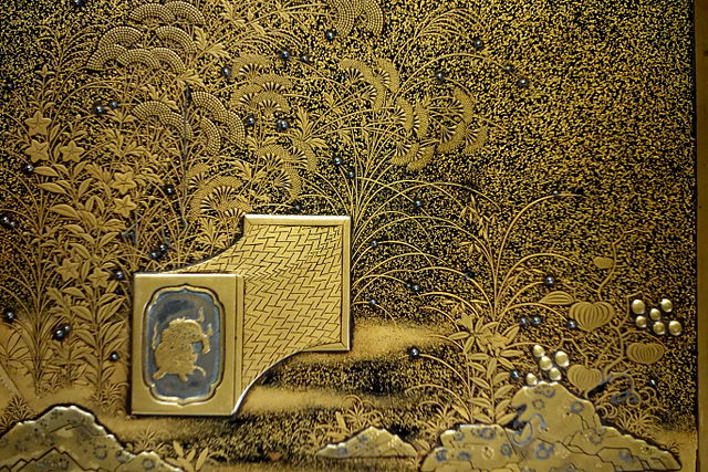 detail of a writing box cover