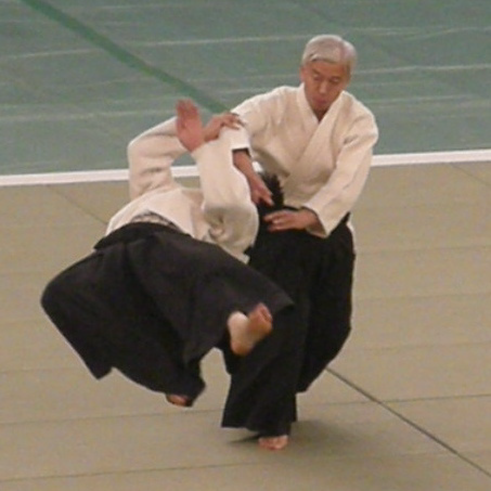 Aikido Doshu Moriteru Ueshiba at a demonstration