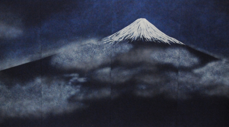 An image of Fujisan made with indigo (?) on cloth