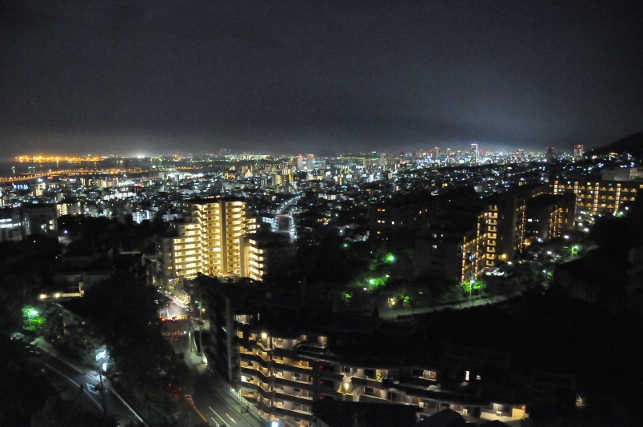View over Kobe at night
