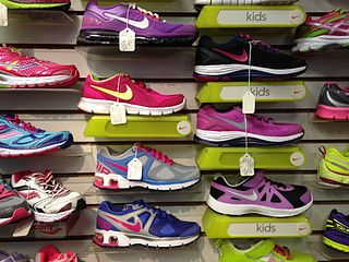 running shoes on display in a shop