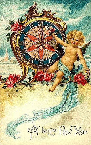 Happy New Year's card from around 1900