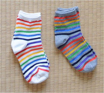 Rainbow coloured socks for summer