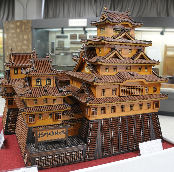 A model of Himeji castle made from soroban beads