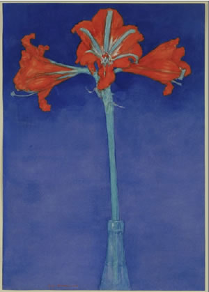 Mondrian painting of red amaryllis