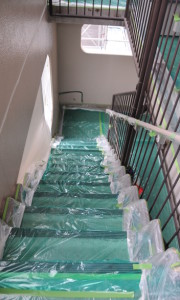 plastic cover of the staircase