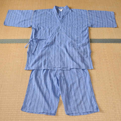 Jinbei in light blue with stripes