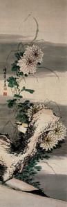 Yellow Bird and Chrysanthemum on the rock by Kakutei