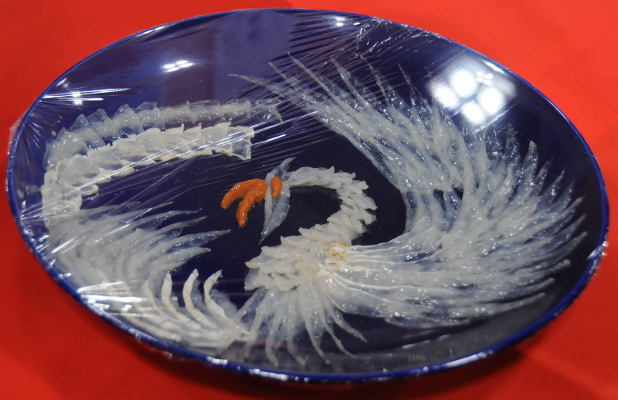 A phoenix made of fugu sashimi.