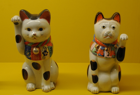 2 calico maneki neko with left/right paw raised
