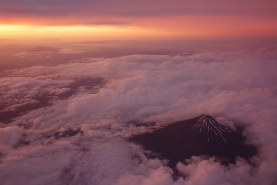 Mount Fuji seen from a plane.