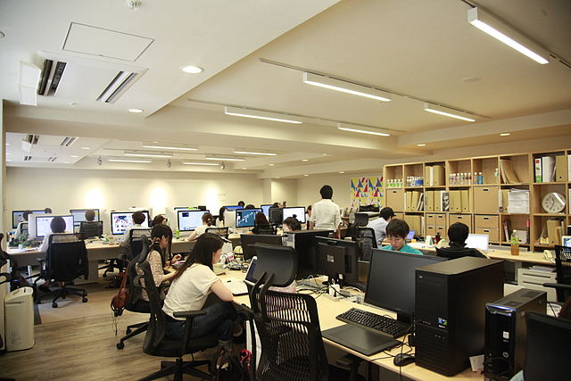 open plan office in Japan