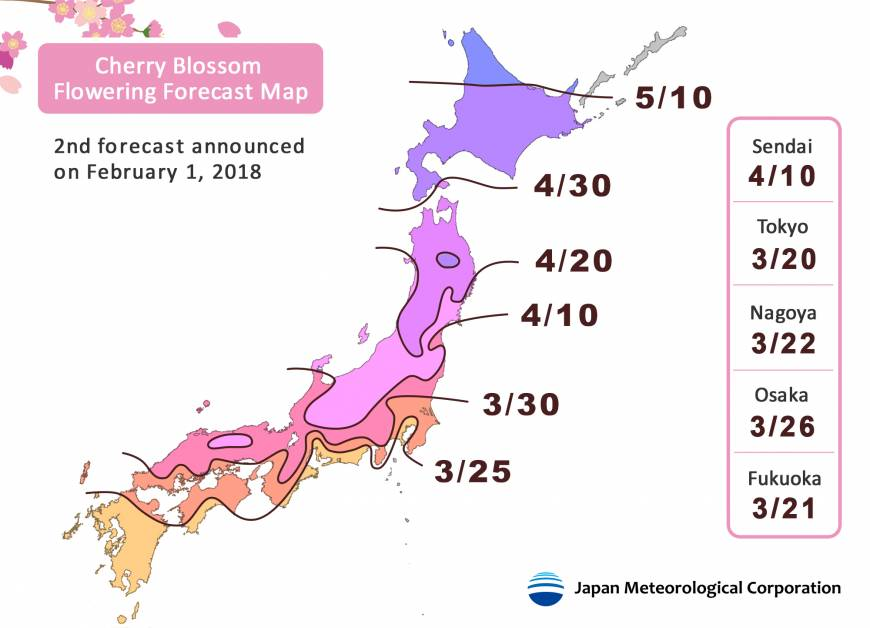 Cherry Blossom Forecast Map 2018, copyright JMC