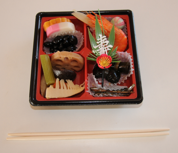 Osechi Ryori with the correct chopsticks