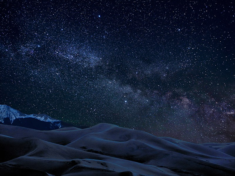 Milky Way over Great Dunes National Park, US.