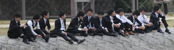 group of schoolkids relaxing on the river Kamo