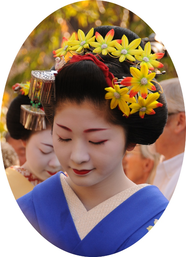 a typical maiko hairdo with lots of ornaments.