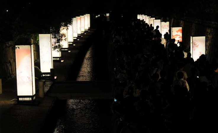 large lanterns with calligraphy and paitings along Horikawa river