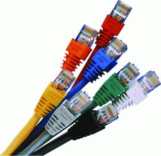 a bundle of ethernet cables