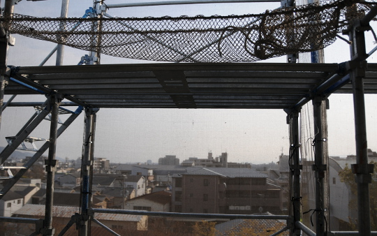 view through scaffolding
