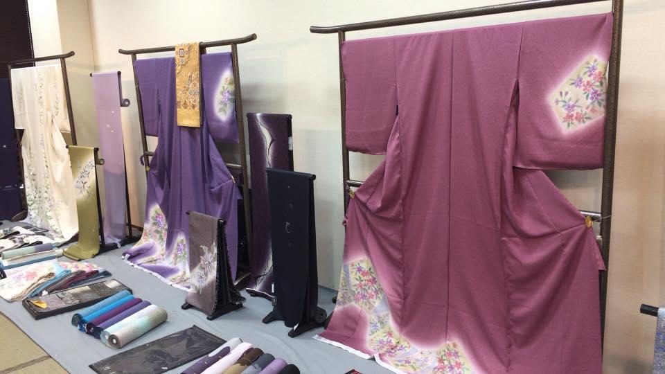 Kimono and obi on display