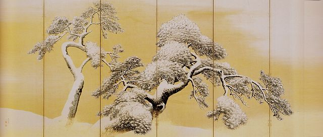 Pine Trees in Snow, left screen, by Maruyama Okyo