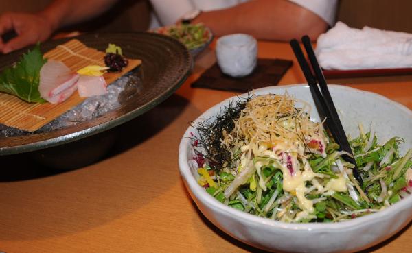 sashimi and harihari salad
