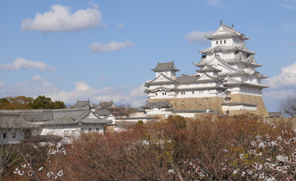 Himeji Castle as seen from the West Bailey.