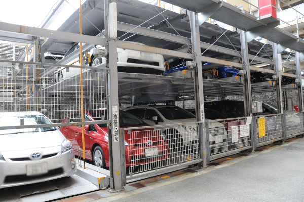 A Japanese parking rack for cars